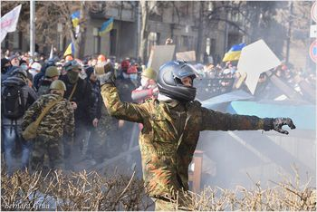 Protestaires rue de l'Institut Bernard Grua - Kiev Maidan