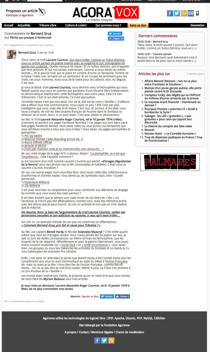 Bernard Grua, réponse à la diffamation du troll Laurent Courtois, Agoravox, Novorossia, Donetsk