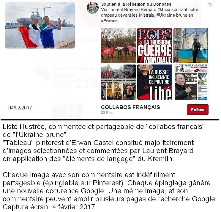 """Fichage numérique et diffusionErwan Castel, sous son compte Pinterest  """"Soutien à la Rébellion du Donbass"""", organisait méthodiquement un catalogue des créations de Brayard dans ce que Pinterest appelle un """"tableau"""", dont le nom est """"COLLABOS FRANCAIS""""."""