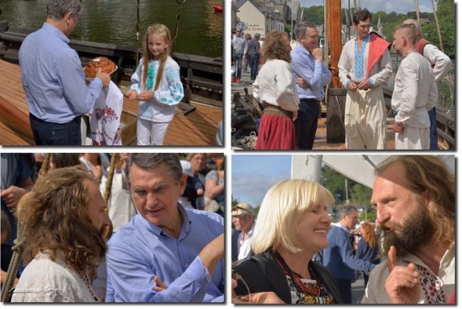 Oleg Shambur, ambassadeur d'Ukraine en France, Natalia Kochubey, responsable du service culturel de m'ambassade d'Ukraine, avec l'équipage de la tchaïka. Photos B. grua