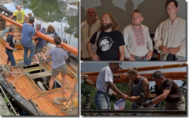 """Pont-Aven, 18 et 19 août 2017. Photo B. Grua L'équipage de la """"galère ukrainienne"""""""