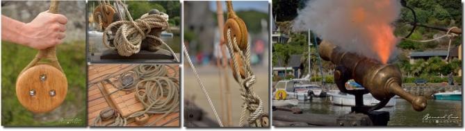 Accastillage de la tchaïka: caps de mouton, tolets, poulies, panneau de pont et hiloire, fauconneau - Pont-Aven 19/08/2017. Photo B. Grua