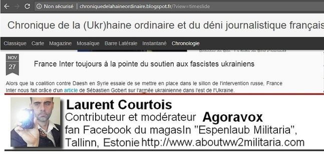 Blog personnel du troll Laurent Courtois au sujet d'une interview de Sébastien Gobert, fascistes ukrainiens
