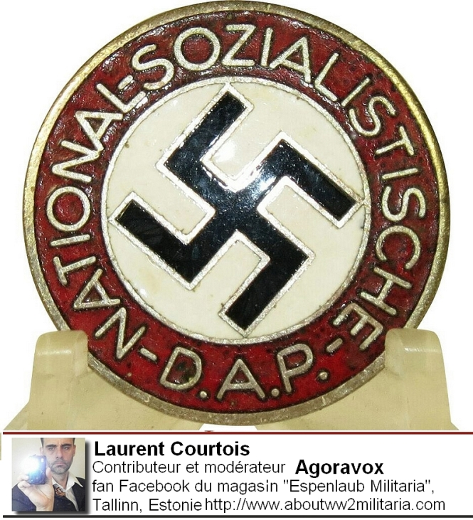 Badge du parti nazi - fascistes- boutique Espenlaub Courtois Laurent, Donetsk, Donbass, Ukraine