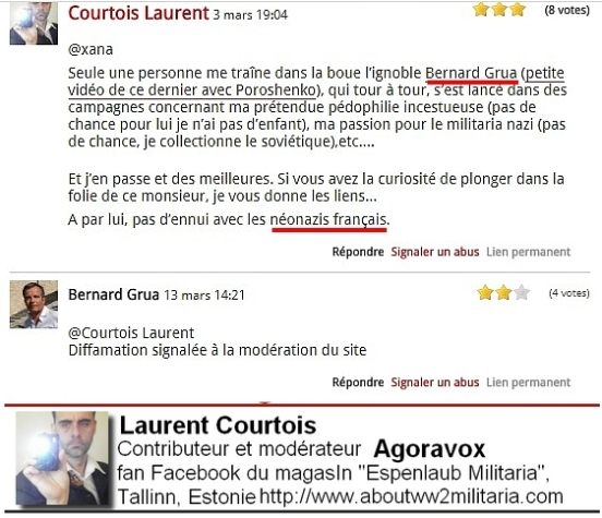 Courtois Laurent néonazi et fasciste, diffamation Donetsk Donbass Ukraine