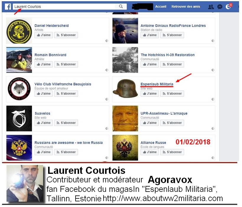 Page aimée FB Courtois Laurent d'Agoravox, Donetsk, Donbass, Ukraine, nazis et fascistes