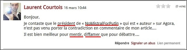 Laurent Courtois, commentaire troll déçu, Agoravox