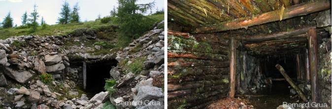 Première galerie horizontale sur le flanc droit de la montagne dans un état très dégradé.