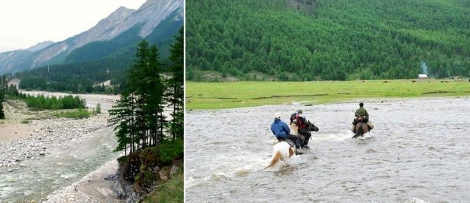 La rivière Irkout en aval de Sorok, été 2008 - Affluent de la rivière Toustouk entre l'estive de Boldoke et Sorok, été 2008 - Photo Bernard Grua