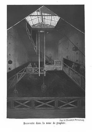 Intérieur de la mine de graphite de Batougol (monts Saïan, Sibérie), découverte en 1847 et exploitée par Jean-Pierre Alibert. Planche tirée de La mine de graphite de Sibérie découverte en 1847 par M. J.-P. Alibert, Paris, Poitevin, 1865.