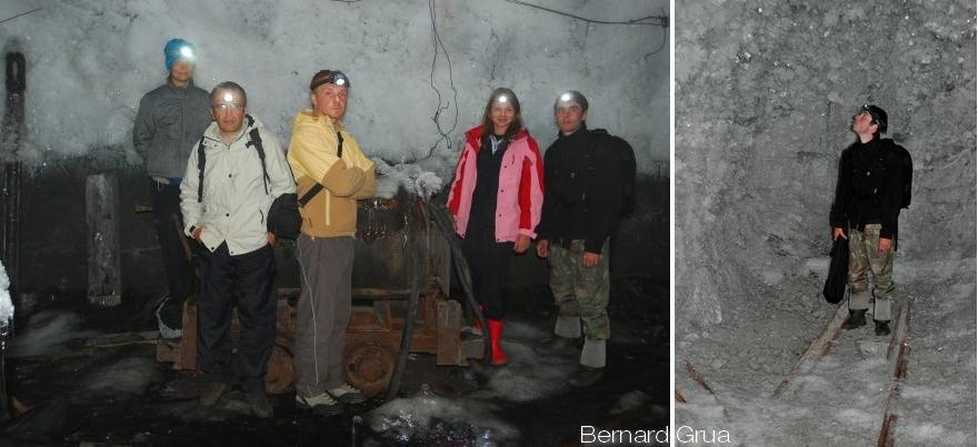 Galerie de la mine Batagol avec permafrost, monts Saïans orientaux, photo de Bernard Grua