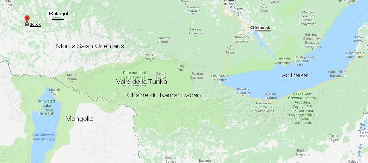 Carte, Batagol, Oka, Irkoutsk, monts Saïan orientaux