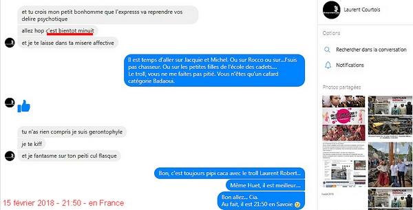 Message de Laurent Courtois minuit