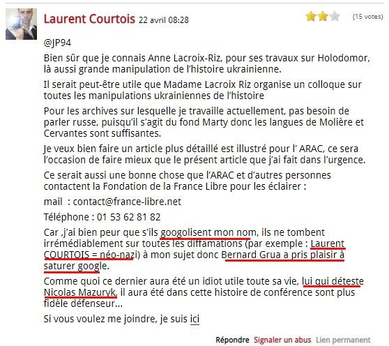 Laurent Courtois néonazi nazi ukraineAgoravox