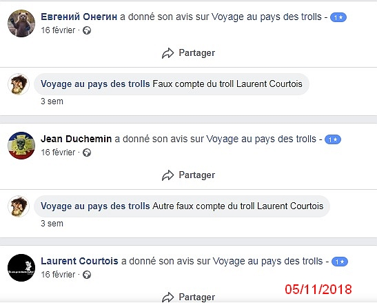 Avis faux comptes Laurent Courtois 05/11/2018
