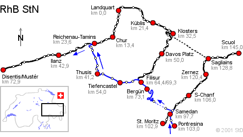Carte Pontresina Reichenau-Tamins Voyage Bernard Grua Glacier Express - Bernina Express -  Rhätische Bahn, Chemins de fer rhétiques