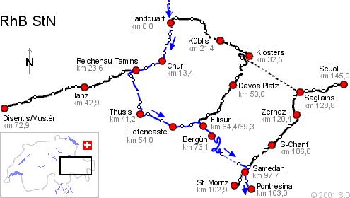 La ligne de la Bernina entre Chur et Pontresina, Glacier Express, Bernina Express - Rhätische Bahn, Chemins de fer rhétiques