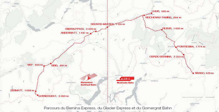 Itinéraires du Bernina Express et du Glacier Express sur la voie de la Rhätische Bahn (RhB) puis sur celle de la Matterhorn Gotthard Bahn (MGB)