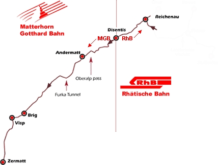De Reichenau-Tamins à Visp voyage Bernard Grua Matterhorn Gotthard Bahn, Rhätische Bahn, Chemines de fer rhétiques, Glacier Expres