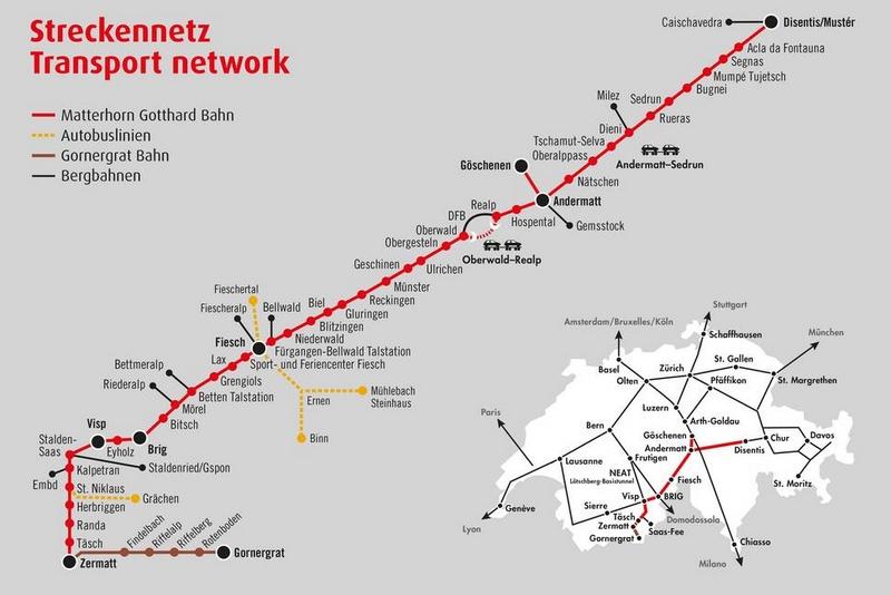 Carte de Disentis à Visp Voyage Bernard Grua - Glacier Express  - Matterhorn Gotthard Bahn