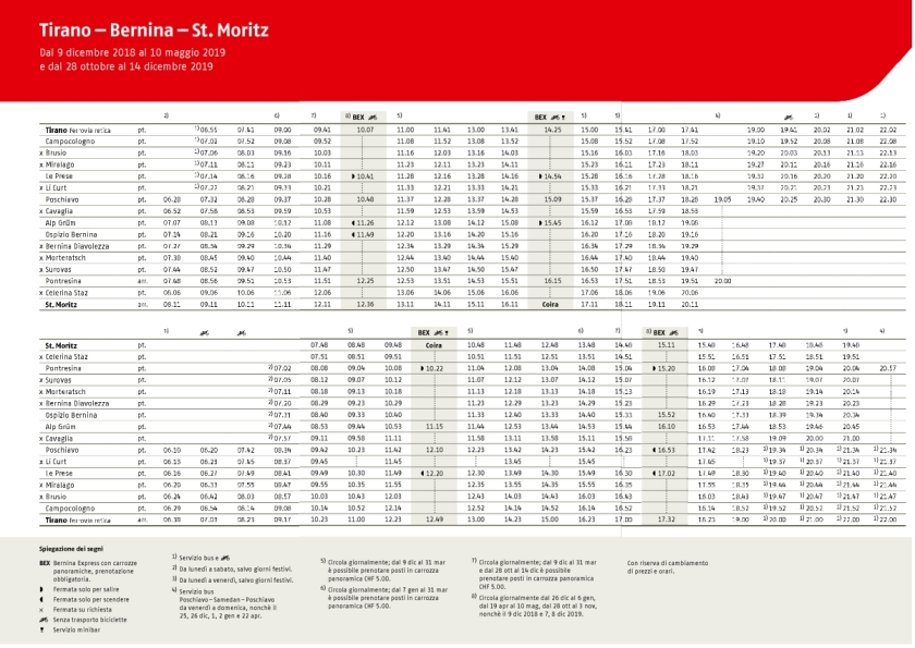 Horaires train rouge (Trenito rosso) Tirano St Moritz - Massif de la Bernina