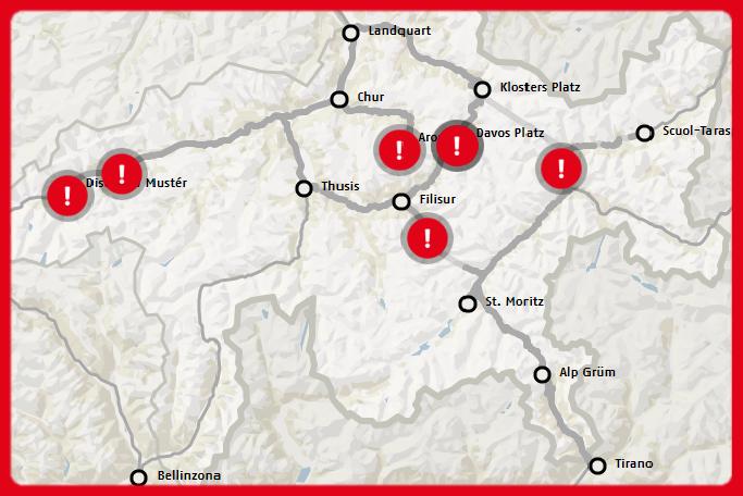 Interruptions de trafic le 14/01/2019 sur les lignes du Glacier Express et du Bernina Express - Source Rhätische Bahn