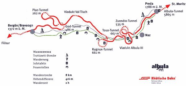 Vallée de l'Albula, ,  Bernina Express, Glacier Express - Rhätische Bahn, Chemins de fer rhétiques