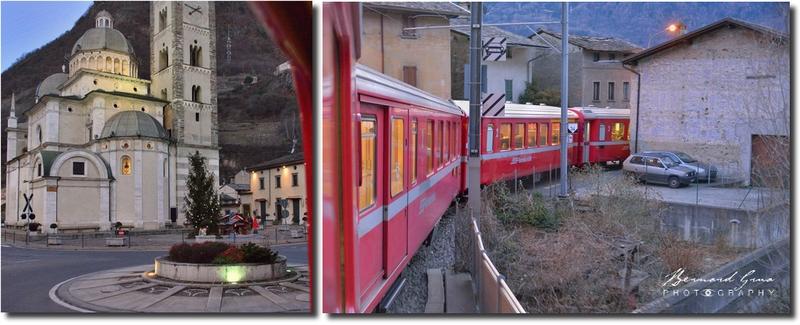 Passage du train sur la place de la Madonna di Tirano et dans les rues, Bernina Express -  Voyage Bernard Grua - Rhätische Bahn, Chemins de fer rhétiques