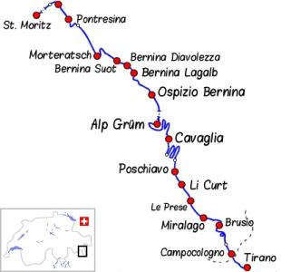 La ligne de la Bernina entre Pontresina et Tirano. Noter les circonvolutions entre l'Alp Grüm et Poschiavo - Rhätische Bahn, Chemins de fer rhétiques