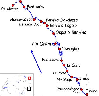 Carte Tirano à Pontresina par la ligne de la Bernina - Voyage Bernard Grua - Bernina Express - Rhätische Bahn, Chemins de fer rhétiques