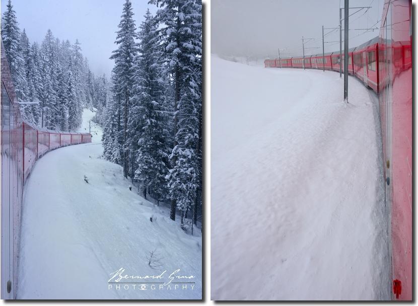 Avant l'arrivée à Bergun/Bravuogn à la fin de l'important dénivelé de la haute vallée de l'Albula , Glacier Express - Bernina Express -  Voyage Bernard Grua - Rhätische Bahn, Chemins de fer rhétiques