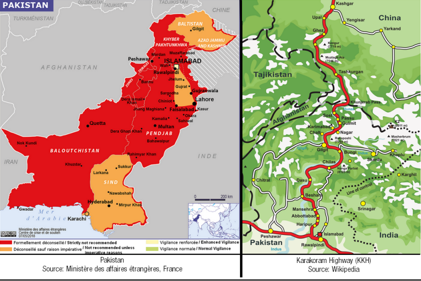 Cartes du Pakistan (source: MAE France) et de la Karakoram Highway (source: Wikipedia)