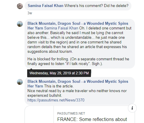 First Ramla Akhtar replied to the comments. Then, eventually, she deleted these comments but kept a screen copy of them. She did not remove her answers. You can still see our names on them. After that, I did not make any public comments. I was blocked, anyway, on the page.
