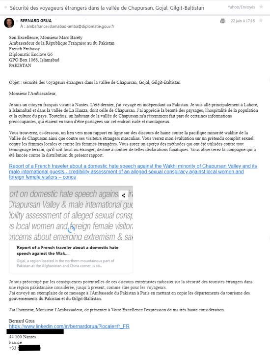 Rmala Aalam's false testimony: electronic letter to the ambassador of France