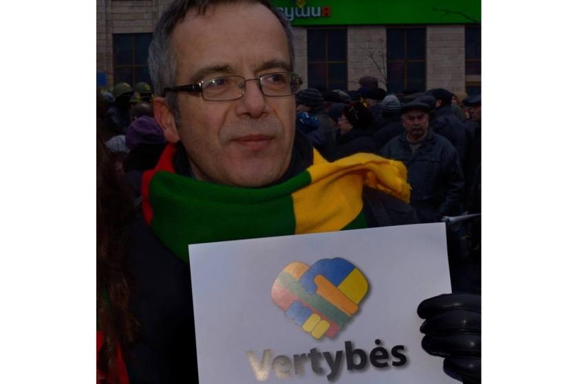 Bernard Grua, Maidan, Kiev, avec les couleurs de la Lituanie