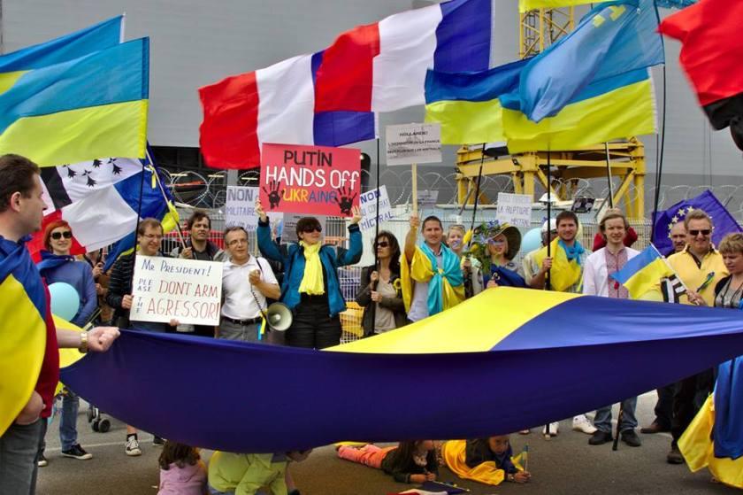 Bernard Grua, première manifestation contre la livraison des navires Mistral à Vladimir Poutine. Saint Nazaire 2 juin 2014 - No Mistrals for Putin - Sébastopol