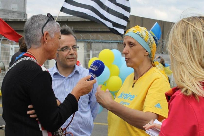 Bernard Grua, deuxième manifestation contre la livraison des navires Mistral à Vladimir Poutine. Saint Nazaire 29 juin 2014 - No Mistrals for Putin - Nathalie Pasternak