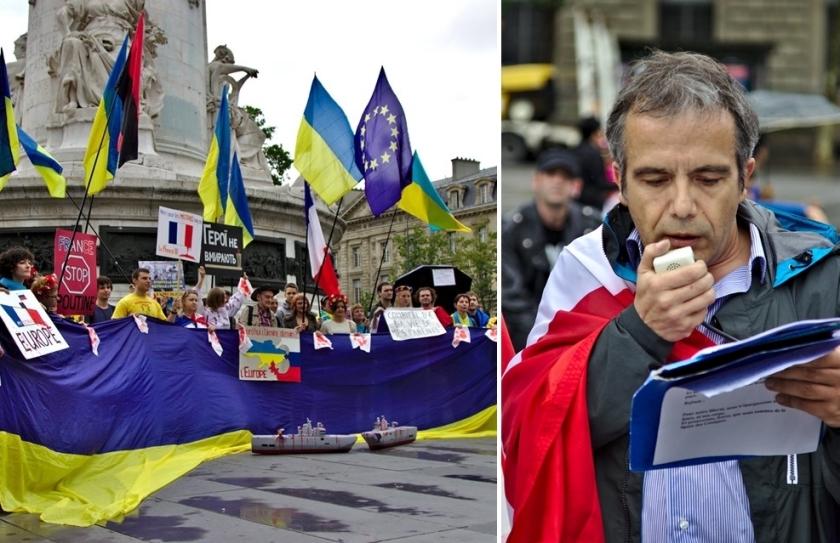 Bernard Grua, troisième manifestation contre la livraison des navires Mistral à Vladimir Poutine. Paris 13 juillet 2014 - No Mistrals for Putin - Speech