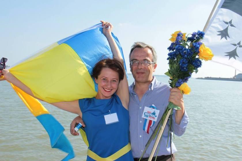 Bernard Grua, quatrième manifestation contre la livraison des navires Mistral à Vladimir Poutine. Saint Nazaire 7 septembre 2014 - No Mistrals for Putin - Défilé - Ludmila