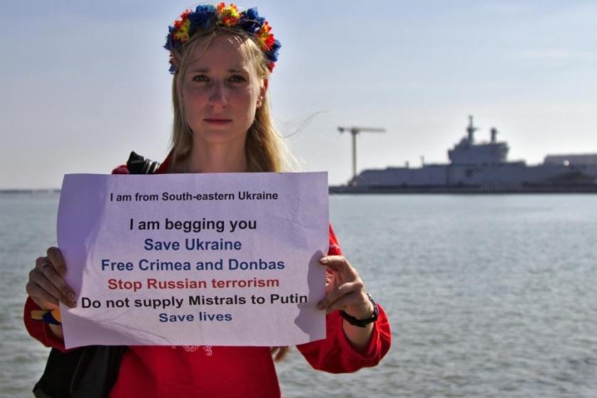 Bernard Grua, quatrième manifestation contre la livraison des navires Mistral à Vladimir Poutine. Saint Nazaire 7 septembre 2014 - No Mistrals for Putin - Liza