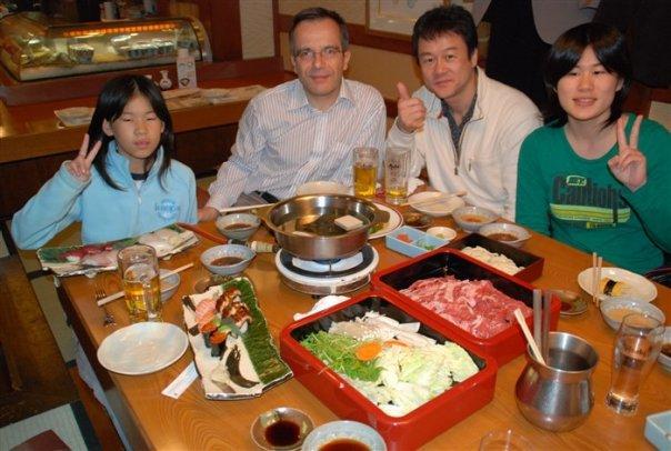 Bernard Grua, dîner dans un restaurant coréen à Osaka, Japon