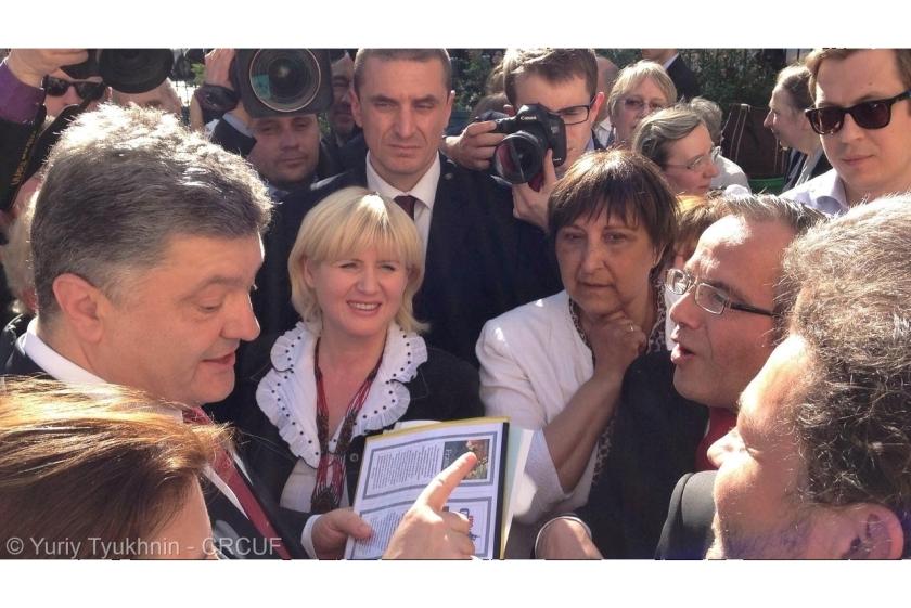 Bernard Grua rencontre le président de l'Ukraine, Petro Porochenko. Paris 22 avril 2015.