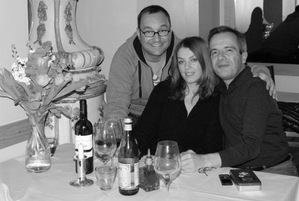 Bernard Grua avec Sabina et Maurizio, Restaurant Ovest, Schlütherstrasse, Berlin
