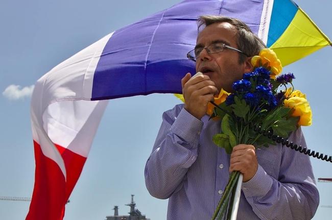 """Bernard Grua, discours au cours d'une manifestation """"No Mistrals for Putin"""" à St Nazaire"""