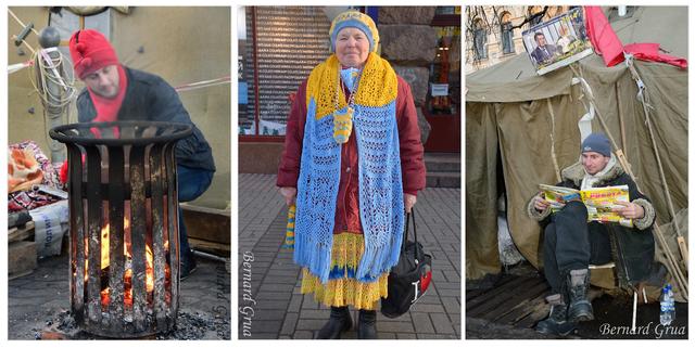 Personnages sur le Maidan et la rue Krechtchatyk. Activiste se chauffant à une corbeille transformée en brasero - Baboussia aux couleurs nationales y compris housse de téléphone et housse de parapluie - Activiste gardant une tente et parcourant les offres d'emploi dans le journal Rabota (travail), noter le président, Viktor Ianoukovytch, et le premier ministre, Mykola Azarov, dans une cage - décembre 2014,  photo Bernard Grua DR
