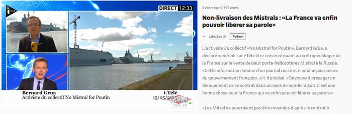 15 mai 2015 - La rédaction parisienne d'i-Télé affirme une clause inexistante d'un contrat qu'elle n'a pas lu en s'appuyant sur les dires de Rogozine, adversaire déterminé de la France dans le litige Mistral et ailleurs.