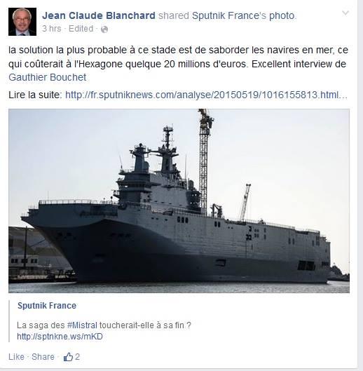 """""""La solution la plus probable est de saborder les navires en mer"""" - Jean-Claude Blanchard, élu Front National St Nazaire - facebook 19/05/2015"""