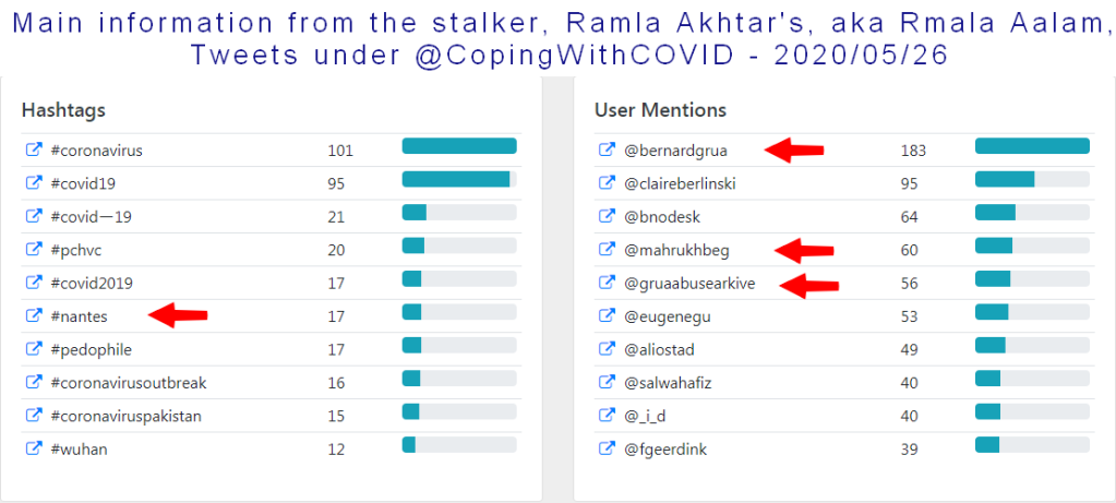 Main information from 2,340 tweets sent by Ramla Akhtar, aka Rmala Aalam on @CopingWithCovid