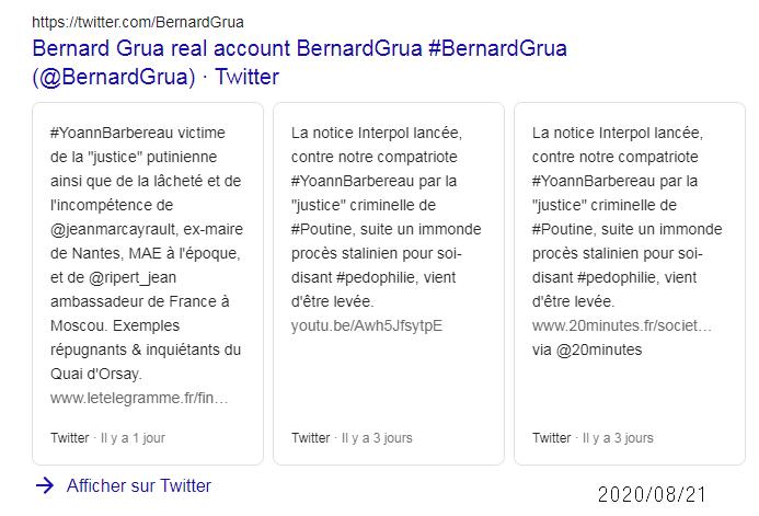 Carousel Twitter Bernard Grua recherche en français