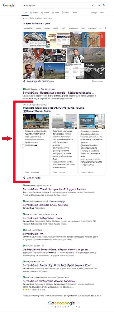 Carrousel Twitter sur la première page de recherche Google